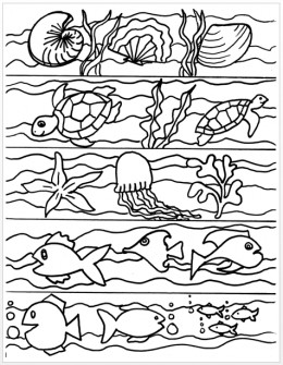 Ocean-themed bookmarks to color.