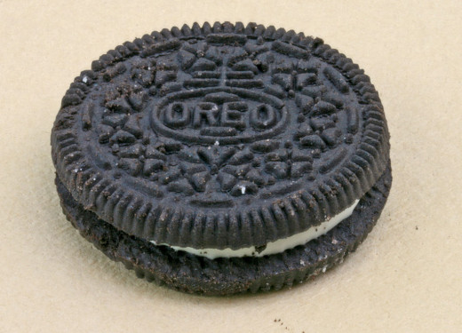 The Nabisco trademark imprinted on an Oreo cookie