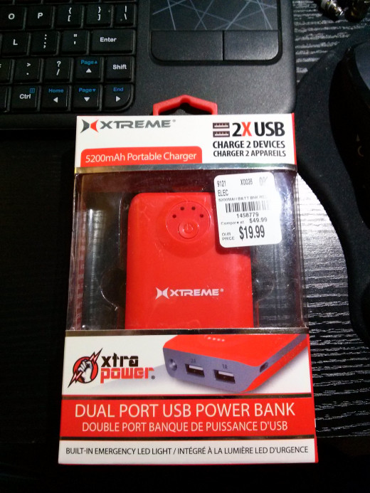 An external battery pack/power bank that I bought at Tuesday Morning.  This one holds 5200mAh worth of charge.