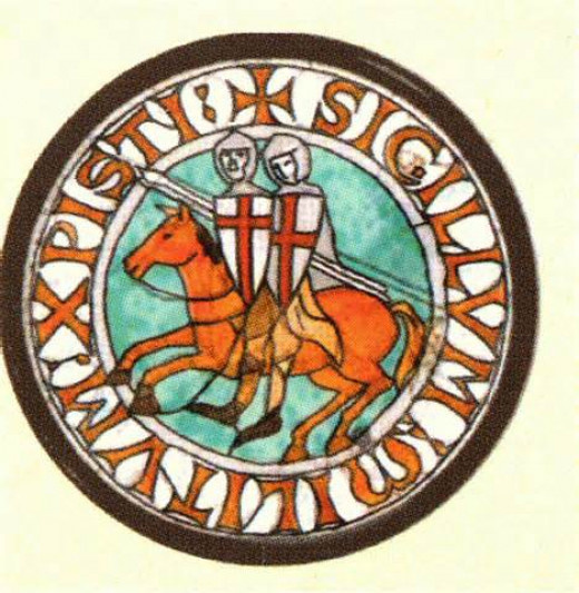 The seal of the Knights Templar shows their mission to escort pilgrims to the Holy Land and that they often rode double.