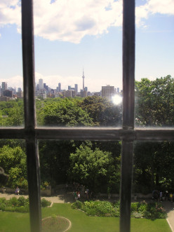 View from Casa Loma (C. N. Tower, from 3rd Floor of Casa Loma), 1 Austin Terrace, Toronto, Ontario, Canada.
