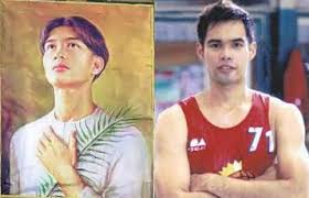 PBA player Ronald Tubid (R) then 17 years of age acted as St. Pedro Calungsod's model.