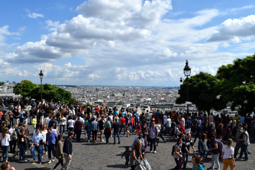 Crowds overlooking the city, from Sacre Coeur, Paris