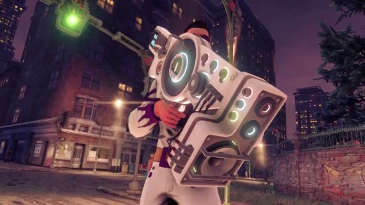 The protagonist of Saints Row IV holding the Dubstep Gun.