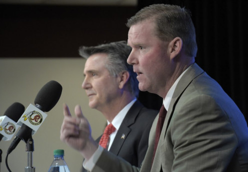 The Brain Trust of Bruce Allen and GM Scot Mccloughan.  And with the 1st pick of the 2000 and forever drafts the Redskins take?????