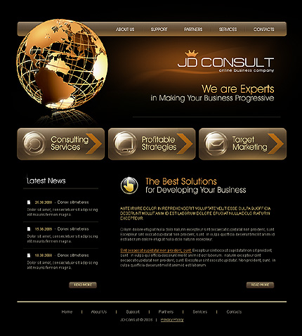 Here is an example of  professional web design template. Even something as complex as this can be set up in layers that are easily customized so that it can be handed off to the graphics department or another designer later without problems.