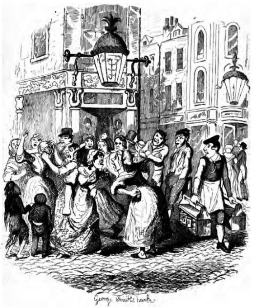 George Cruikshank - for Charles Dickens Seven Dials around 1836