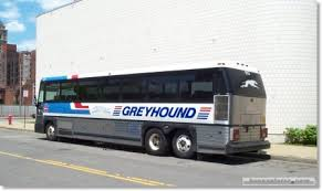 A familiar sight-- Greyhound bus