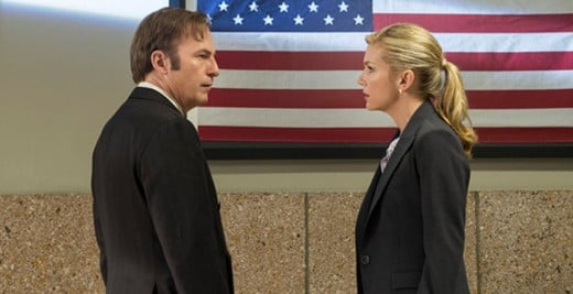 Saul and his lawyer lady-friend Kim