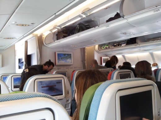 On the A330, the economy cabin is configured in a 2-4-2 layout