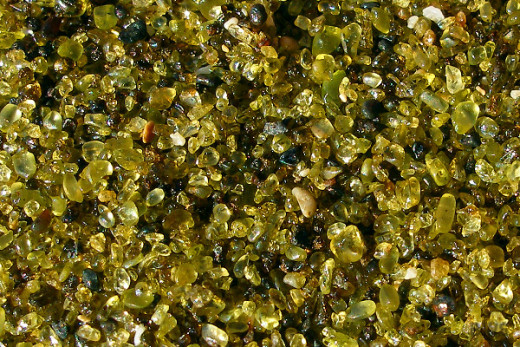 Close-up of green sand (peridot and olivine)