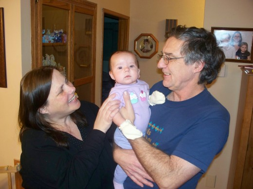 Helena with Nanna and Grandpa