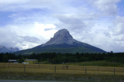 View of Crowsnest Mountain from Highway 3 in Crowsnest Pass, Alberta, Canada