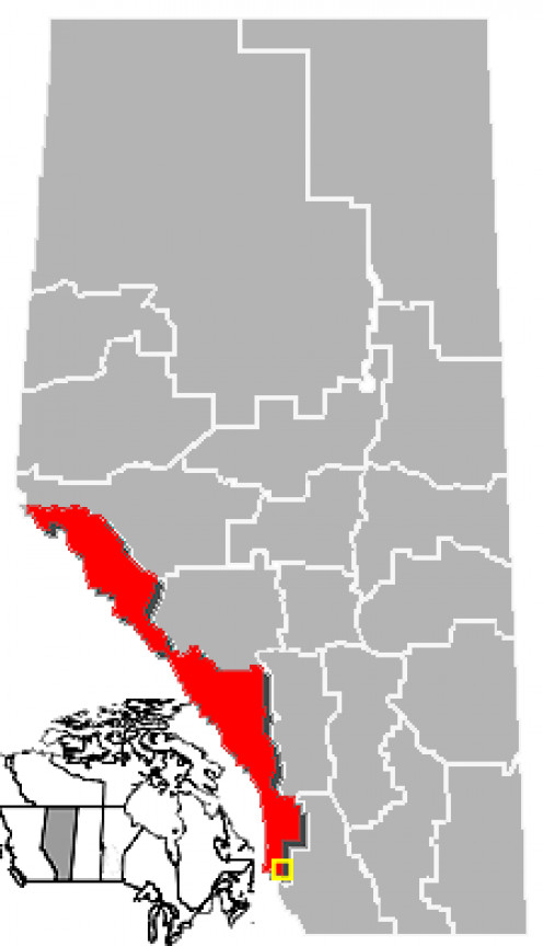 Map location of Crowsnest Pass, Census Division No. 15, Alberta