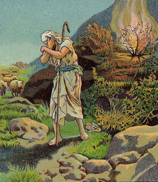 The Call of Moses, as in Exodus 3:1-12, illustration from a Bible card published 1900 by the Providence Lithograph Company (1900)