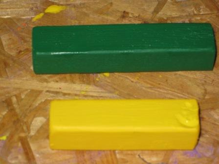 The yellow and green mini stick blocks
