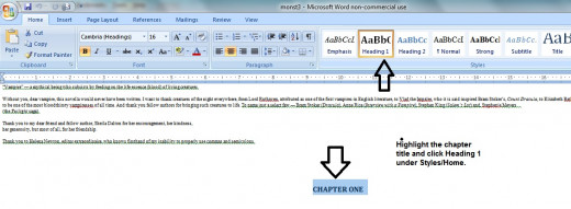 Highlight the chapter title and click 'HEADING 1' under the HOME/Styles key in WORD.
