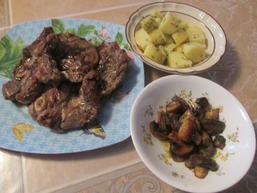 Lamb chops, Italian style potatoes, mushrooms