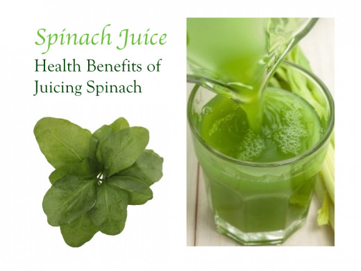 Spinach juice provides a rich source of vitamins A and K. Minerals in spinach juice include magnesium, iron, phosphorus, and calcium.