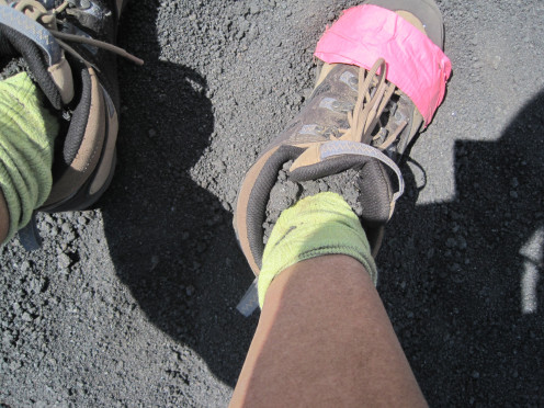 A quick fix when my shoe sole ripped off on volcanic rock on day 1 of El Hoyo. Eeek!