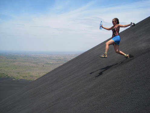 There are two options for getting back down from Cerro Negro, you can run, or you can sled.