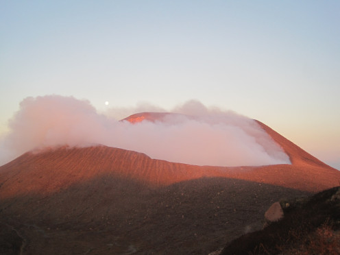 Telica after the sunrise, still sporting some moon. The right side of the crater is the same one shown in darkness with us peering inside!