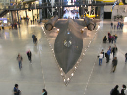 An SR-71 at the Udvar- Hazy Center, Dulles, VA.  Patrons can get a good view of any part of this aircraft, except the underside.