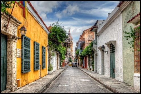 A beautiful street in Cartagena, Columbia
