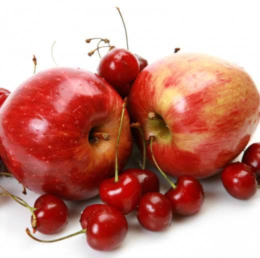 These are some apples and some cherries.