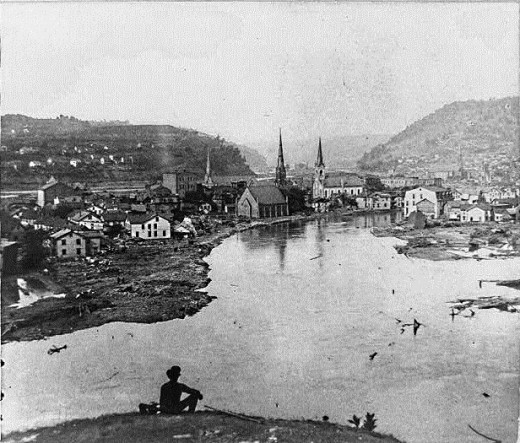 View of a flooded Conemaugh Valley c. 1889