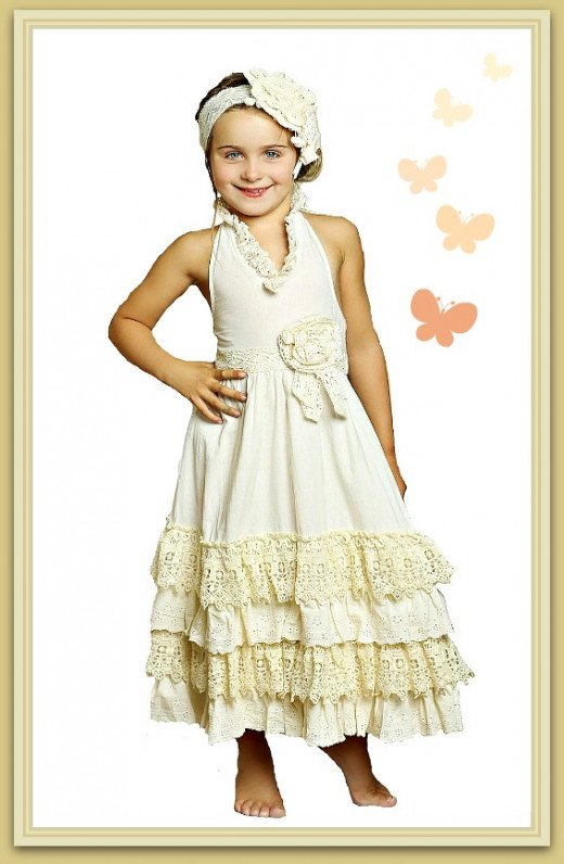 Mustard Pie Little Girls Jade Lace Maxi Dress