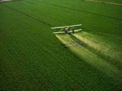 Crop dusting with herbicides.