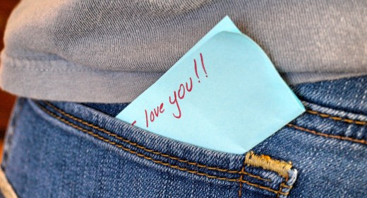Leave a note in her pocket for her to find.