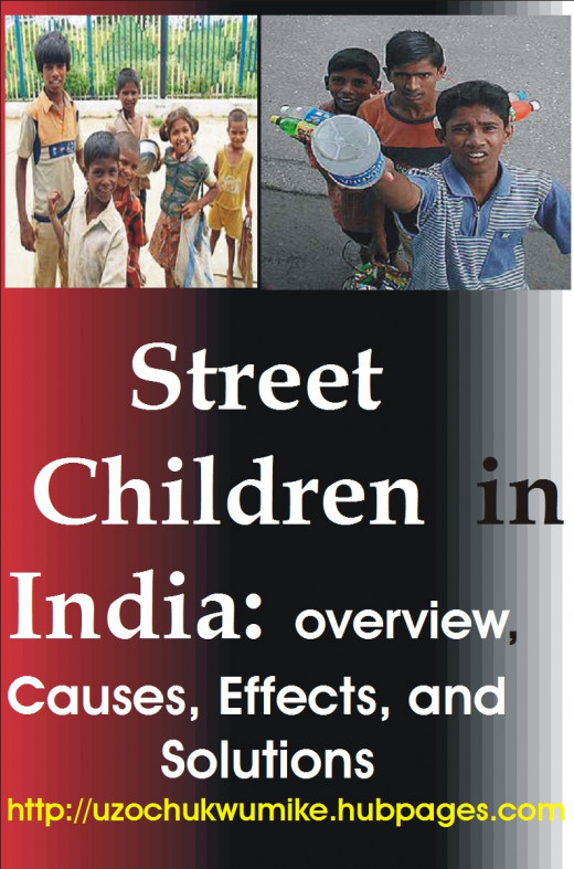 Street children in India have been denting the image of the country. Added to the illustration on the topic are two sets of picture. One is Indian street children who beg on the streets of the country, and the other are those selling products.