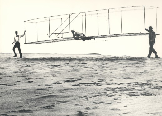 Wright brothers testing a glider