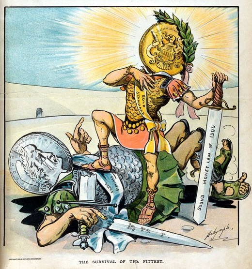 Cartoon shows the victory of the gold standard over silver.
