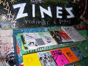A typical display of zines