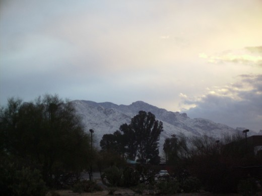 Snow covered Catalina Mountains following a nighttime winter snow storm in Tucson, AZ
