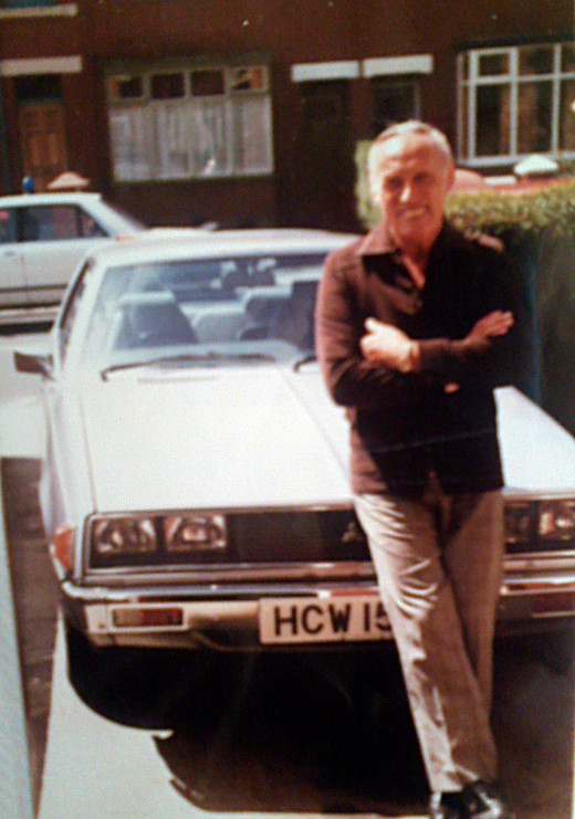 My dad with his much-loved Mitsubishi Colt Sapporo which I unfortunately crashed.