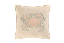 "16"" Hooked Throw Pillow with Peach & Blue Crab"