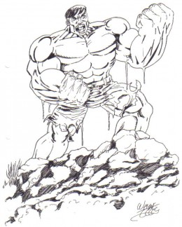 Inked Drawing of the Hulk. Flex them muscles!