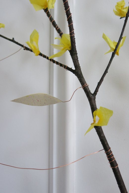 Making and Attaching the Paper Blossoms to Your Decorative Branch