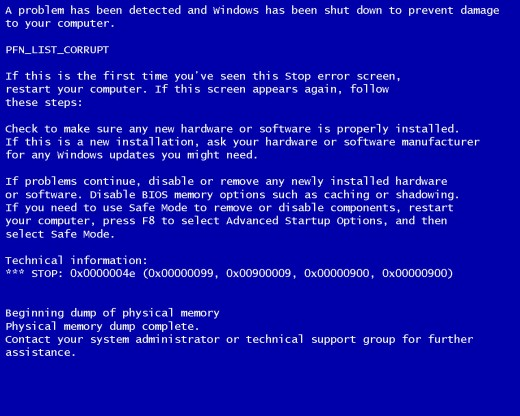 Blue Screen Of Death Can Be Caused By FakeMS.exe Trojan Virus