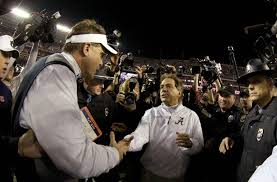 Gus Malzahn, left, Auburn, Nick Saban, Alabama