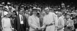 President Calvin Coolidge, left, meets Washington Senators, pitcher, Walter Johnson