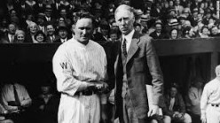 Philadeophia Athletics, Connie Mack, shakes hands with Walter Johnson