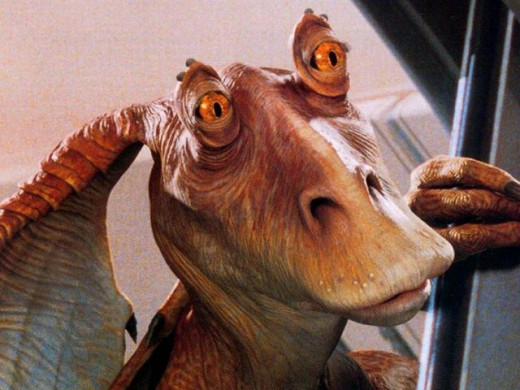 Jar Jar Binks, a very annoying Gungan.
