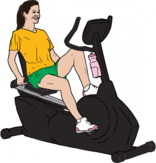 Woman on a recumbent exercise bike