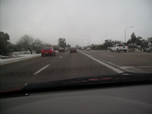 Traffic was light on Interstate 10 in Tucson as I drove to work following a rare January nighttime snow storm