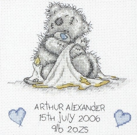Tatty Teddy birth samplers are a popular choice for many cross stitching new mums!